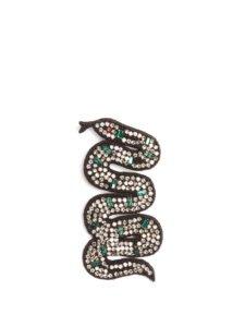 Snake Crystal-Embellished Brooch