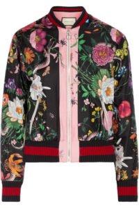 Printed Silk-Satin Bomber Jacket